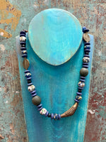 African Bead Necklace (Blue)