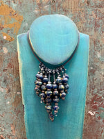 Vintage Glass Bead Necklace (Blue)