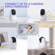 Load image into Gallery viewer, VAVA baby monitor can connect up to 4 cameras simultaneously