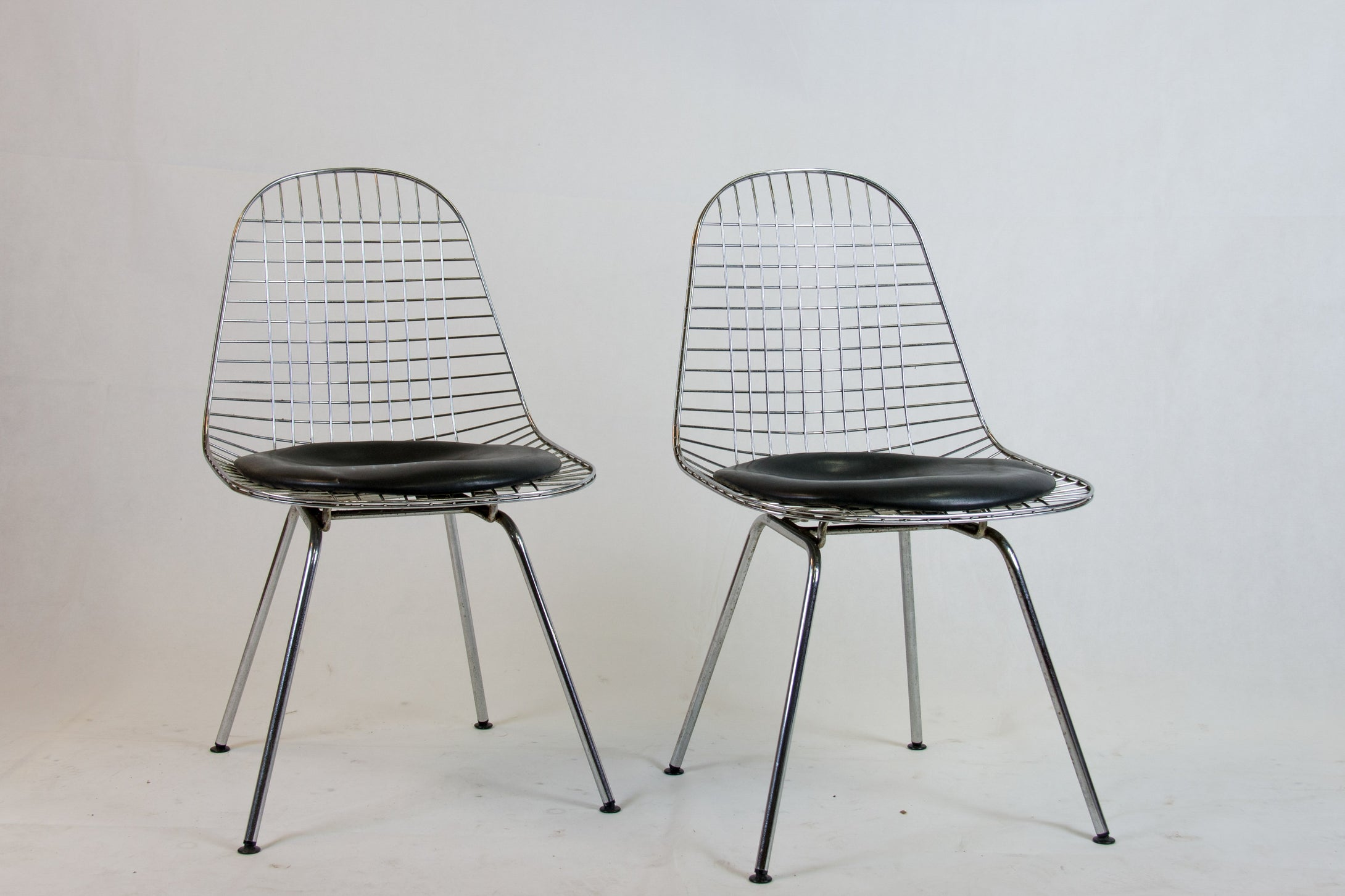 2 DKR wire chairs by Charles Eames for Herman Miller