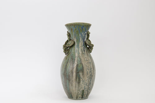 Vase with applied leaves and blue glaze by Arne Bang own workshop 1940s