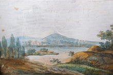 Load image into Gallery viewer, Antique glass showcase with handpainted watercolor France 19th c.