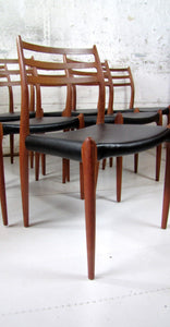 Set of 6 teak dining chairs Model 78 by N.O. Moller