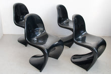 Load image into Gallery viewer, 4 black plastic chairs by Verner Panton for Herman Miller