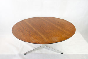 Teak coffee table on three legged aluminium base by Arne Jacobsen for Fritz Hansen