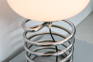 Spiral lamp with white glass shade by Honsel