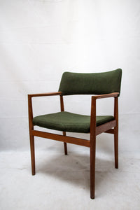 Danish teak armchair covered with original green wool fabric