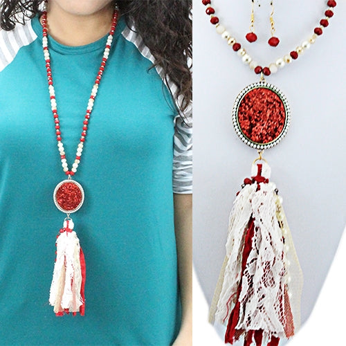 Red & White Glittering Tassel Necklace & Earring Set