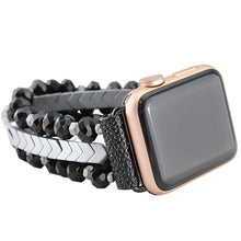 Load image into Gallery viewer, Black w/Silver Beaded Watch Band