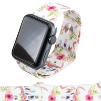 White Floral Steer Skull Watch Band