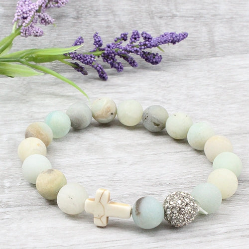 Natural Stone Stretch Bracelet w/Cross