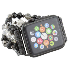Load image into Gallery viewer, Black & Gray Beaded Watch Band