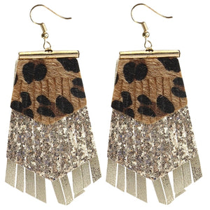 Layered Glitz Leopard Earring