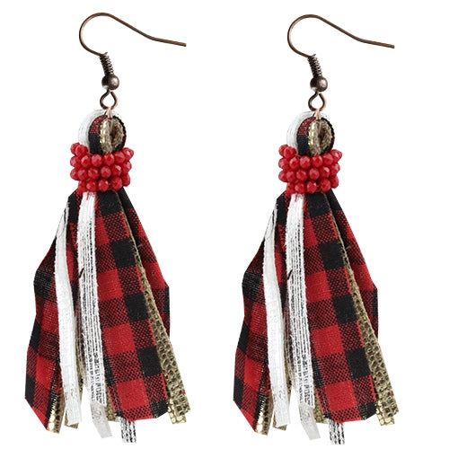 Buffalo Plaid Tassel Earrings