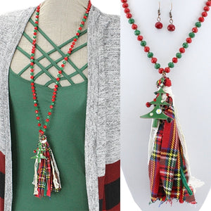 Holiday Plaid Tassel Necklace