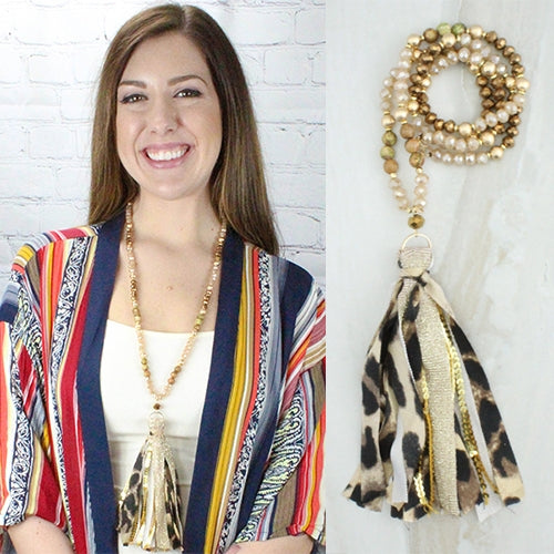 Leopard Print Tassel Necklace & Earring Set