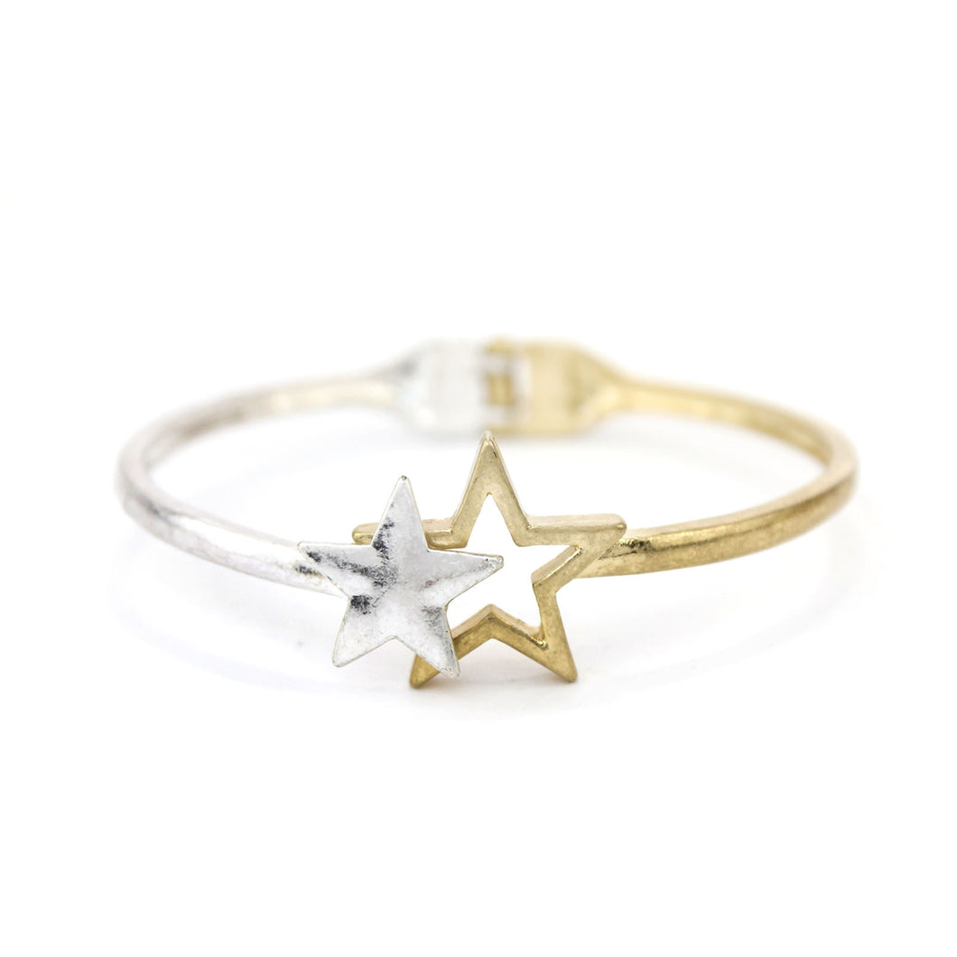 Gold and Silver Star Hinged Bracelet