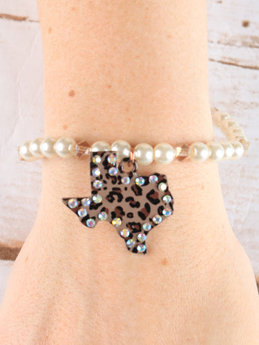 Leopard Texas Pendant on Pearl Stretch Bracelet