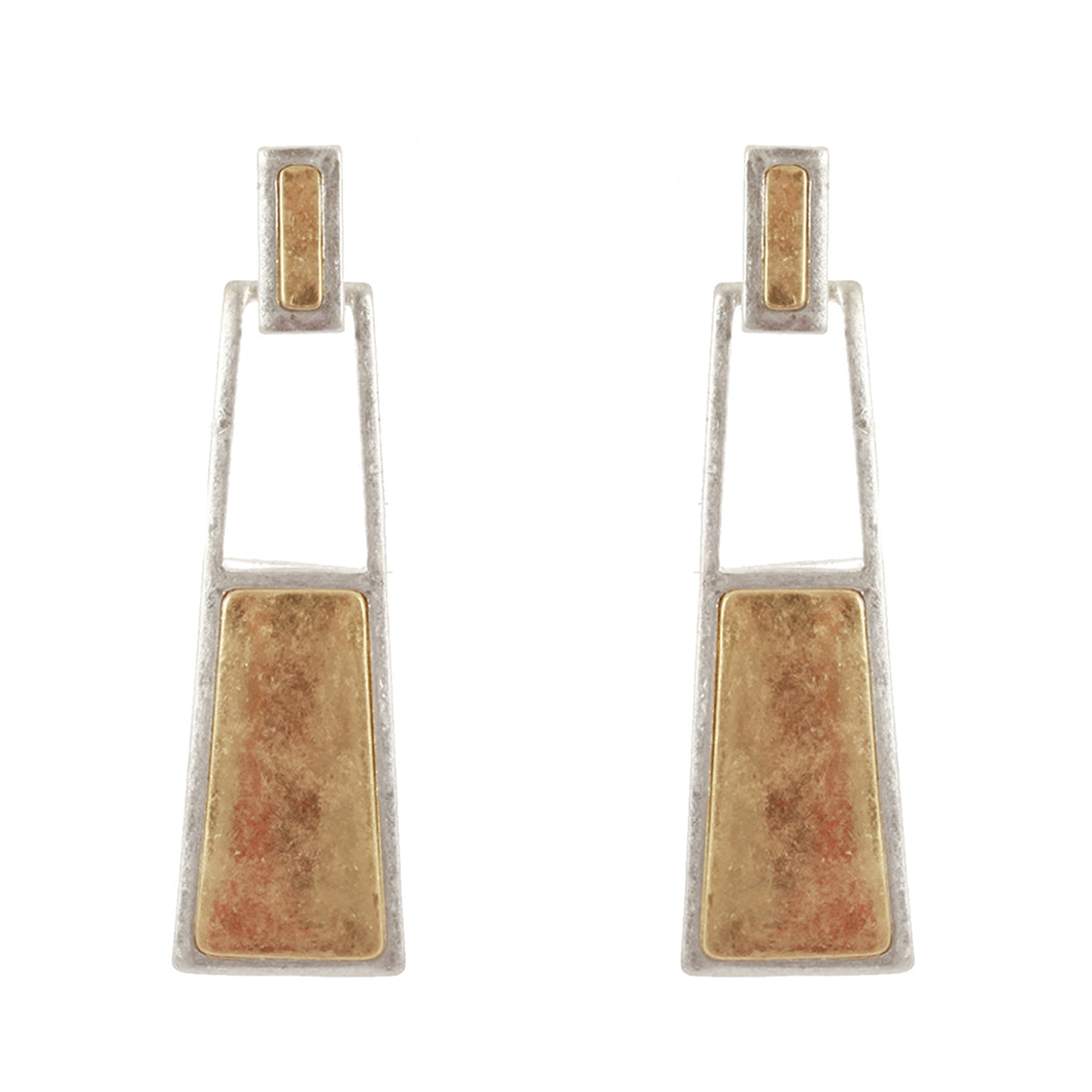 Gold and Silver Drop Rectangle Earring