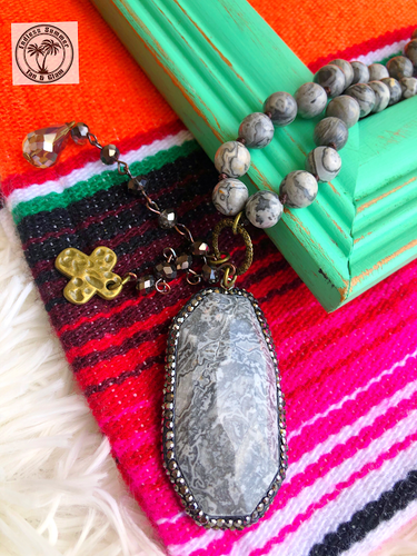 Gray Stone Pendant Necklace