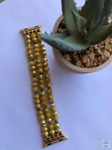 Mustard Beaded Watch Band