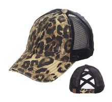 Load image into Gallery viewer, CC Criss Cross Pony Cap- Leopard Print