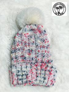 White Multi Fleece Lined Beanie