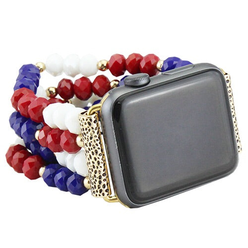 Red, White & Blue Beaded Watch Band