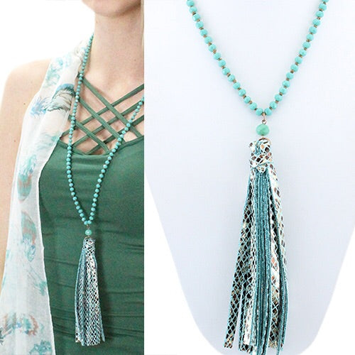 Snake Print Tassel Necklace