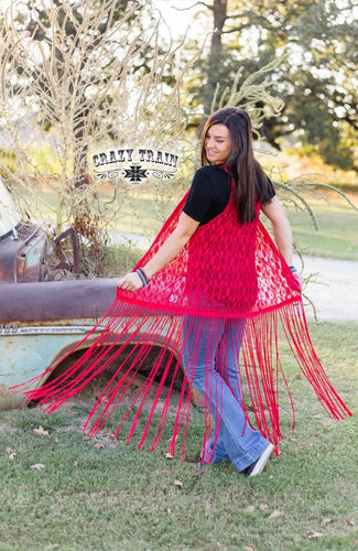 CRAZY TRAIN LA AZTECA FRINGE DUSTER ** RED