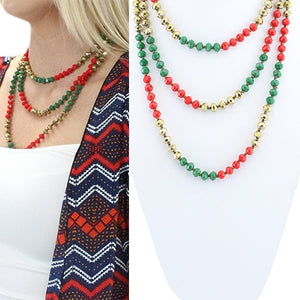 Christmas Color Beaded Necklace