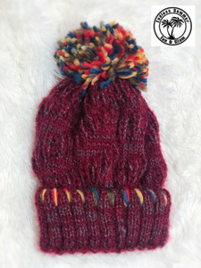 Fleece Lined Beanie-Burgundy