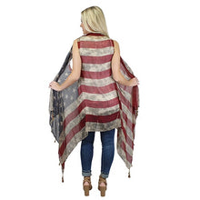 Load image into Gallery viewer, Vintage American Flag Vest w/ Tassels