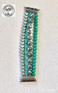 Turquoise & Gray Beaded Watch Band
