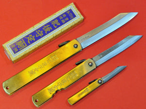 Japanese NAGAO HIGONOKAMI folding pocket knife bluesteel brass Japan