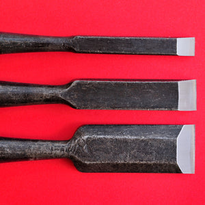 Set of 3 Kōjirō Chisels wood handle Carbon Steel 9mm 15mm 24mm