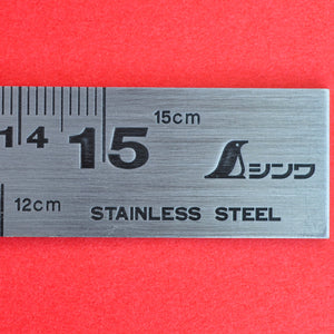 Close-up SHINWA precision Try Square 62009 stainless steel