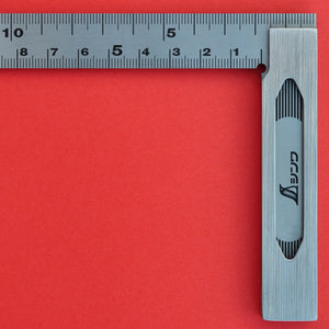 Close-up back side SHINWA precision Try Square 62009 stainless steel