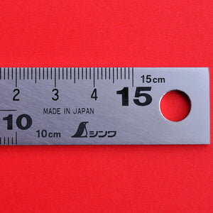 Close-up graduation SHINWA 10435 Carpenter's Square with magnets stainless 15cm 7,5cm