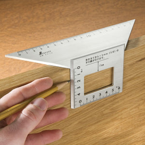 Side view SHINWA Square Layout Miter ruler 45 + 90 Degrees 62114 aluminum Japan Japanese tool woodworking carpenter