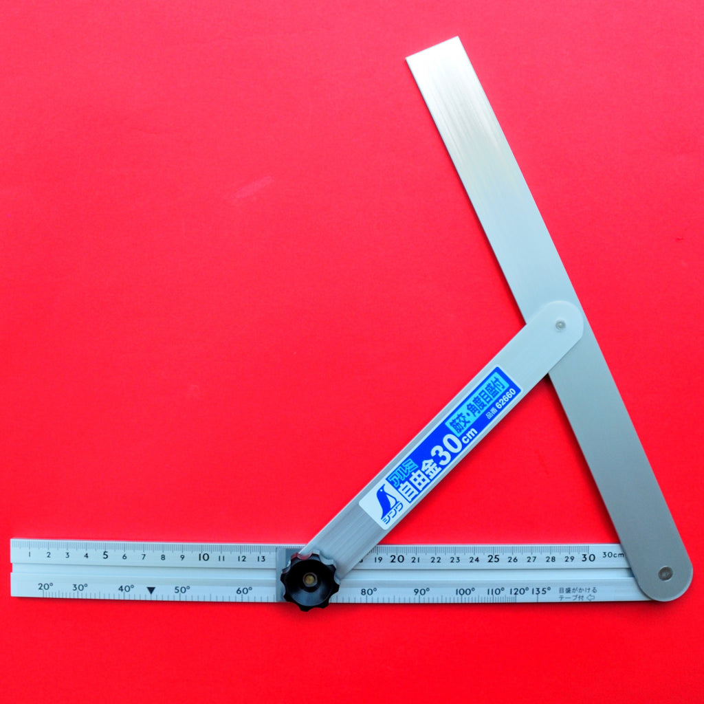 "SHINWA sliding adjustable precision angle bevel 30cm 11.8"" 62660 aluminum Japan Japanese tool"
