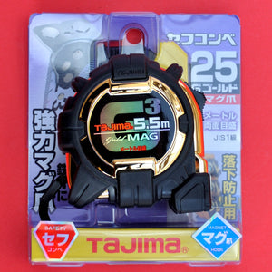 Packaging User guide TAJIMA GOLD MAG measuring tape 5.5m with magnets Japan Japanese tool