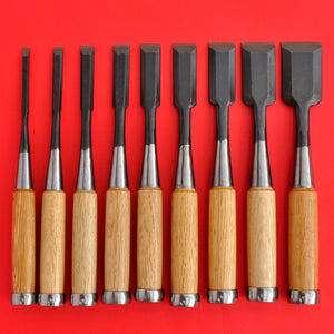 Set 9 japanese Tōgyū Chisel wood oire nomi 6 9 15 36mm Made in Japan tool woodworking carpenter