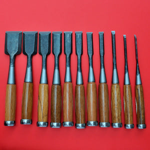 Set 11 japanese SENKICHI Chisel oire nomi Yasugi Steel Japan Japanese tool woodworking carpenter