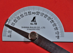 SHINWA Protractor No.19 Close up Stainless steel 62490 Japan Japanese tool