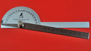 SHINWA Protractor No.19 198mm ⦰90mm Stainless steel 62490