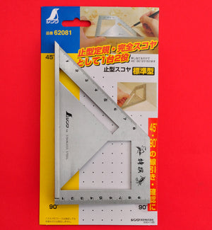 SHINWA Square Layout Miter ruler 45 + 90 Degrees carpenter 62081 stainless
