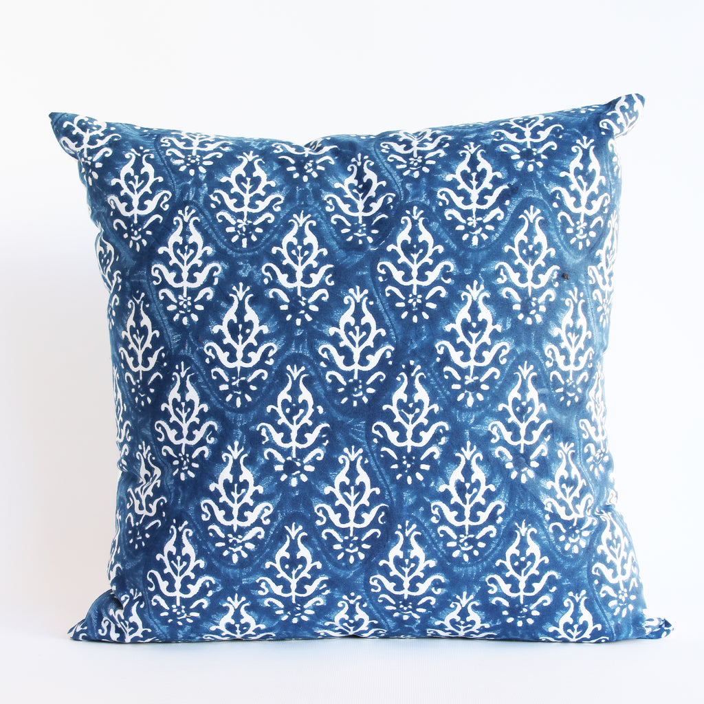 Cushion Cover Hand Block Printed 45x45cms Blue & White Plus FREE filler