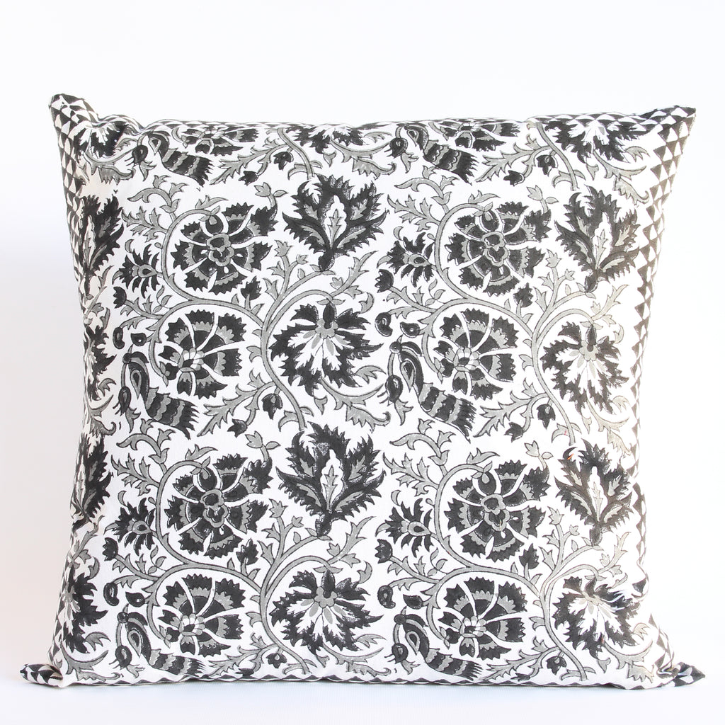 Cushion Cover Hand Block Printed 45x45cms Black & White Plus FREE filler