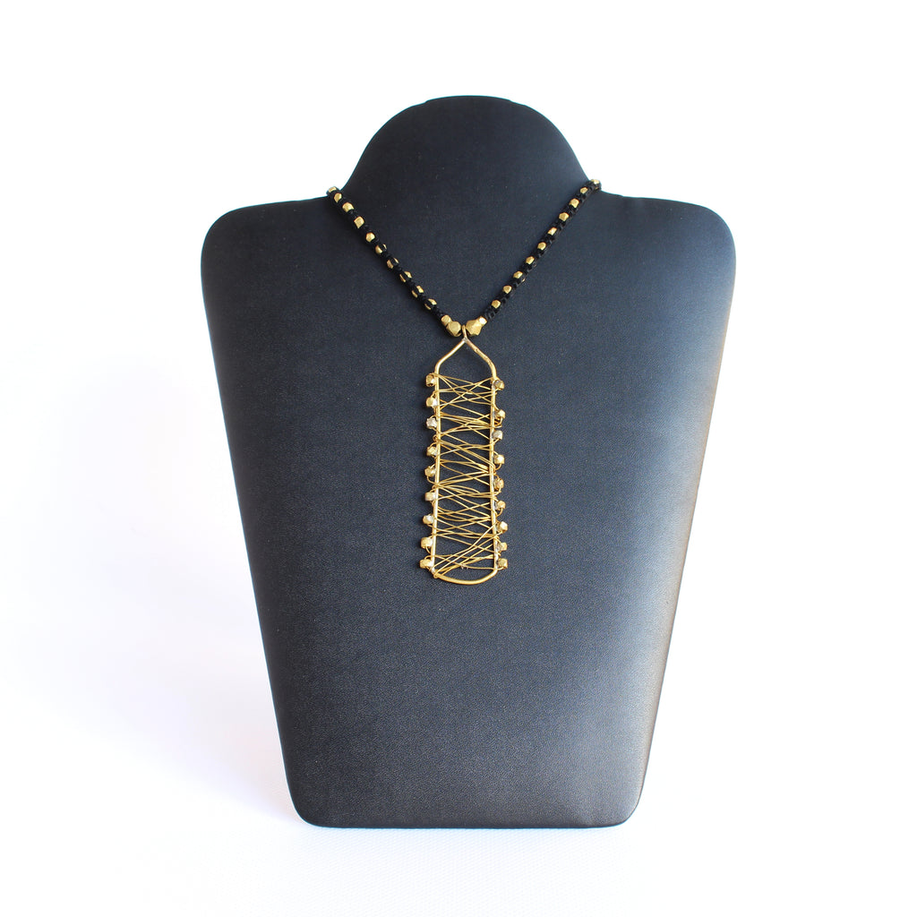 Brass and Cotton Thread Necklace Rectangular W/S